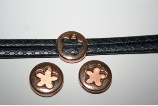 Componente per Corda Piatta 10mm, Fiore Colore Oro Rosa 1pz., Cod.MIN187