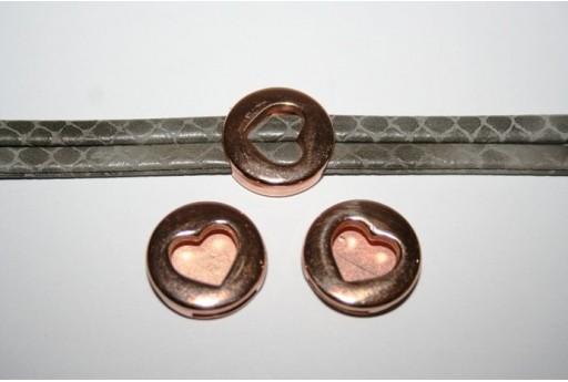 Componente per Corda Piatta 10mm, Cuore Colore Oro Rosa 1pz., Cod.MIN192