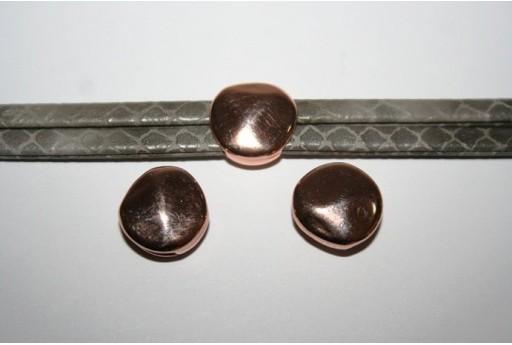 Componente per Corda Piatta 10mm, Pasticca Colore Oro Rosa 1pz., Cod.MIN188