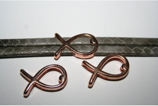 Componente per Corda Piatta 10mm, Pesce Colore Oro Rosa 1pz., Cod.MIN190