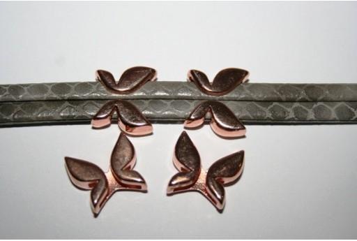 Componente per Corda Piatta 10mm, Farfalla Colore Oro Rosa 1pz