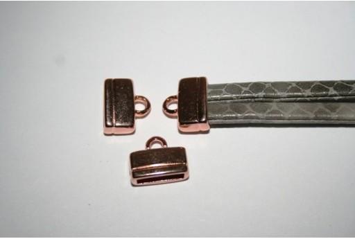 Componente per Corda Piatta 10mm, Tappo Colore Oro Rosa 1pz., Cod.MIN196