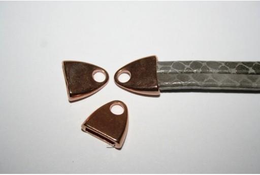 Componente per Corda Piatta 10mm, Tappo Colore Oro Rosa 2pz., Cod.MIN197