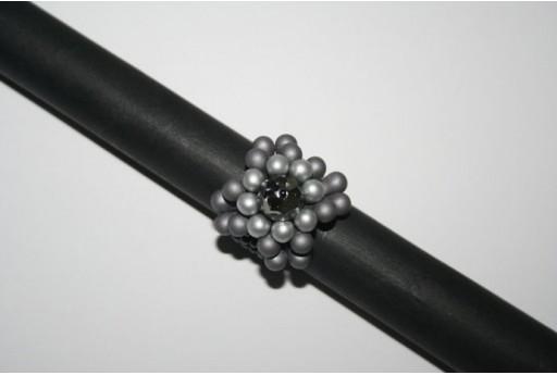 Kit Anello Bulb Beads Metallic Steel Swarovski Jet