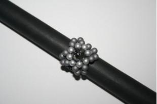 Kit Anello Bulb Beads Metallic Steel Swarovski Jet Cod.AN015B