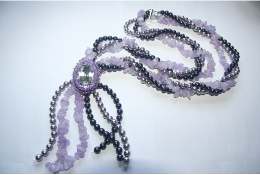 Swarovski Cabochon and Gemstones Lavender - Necklace Kit