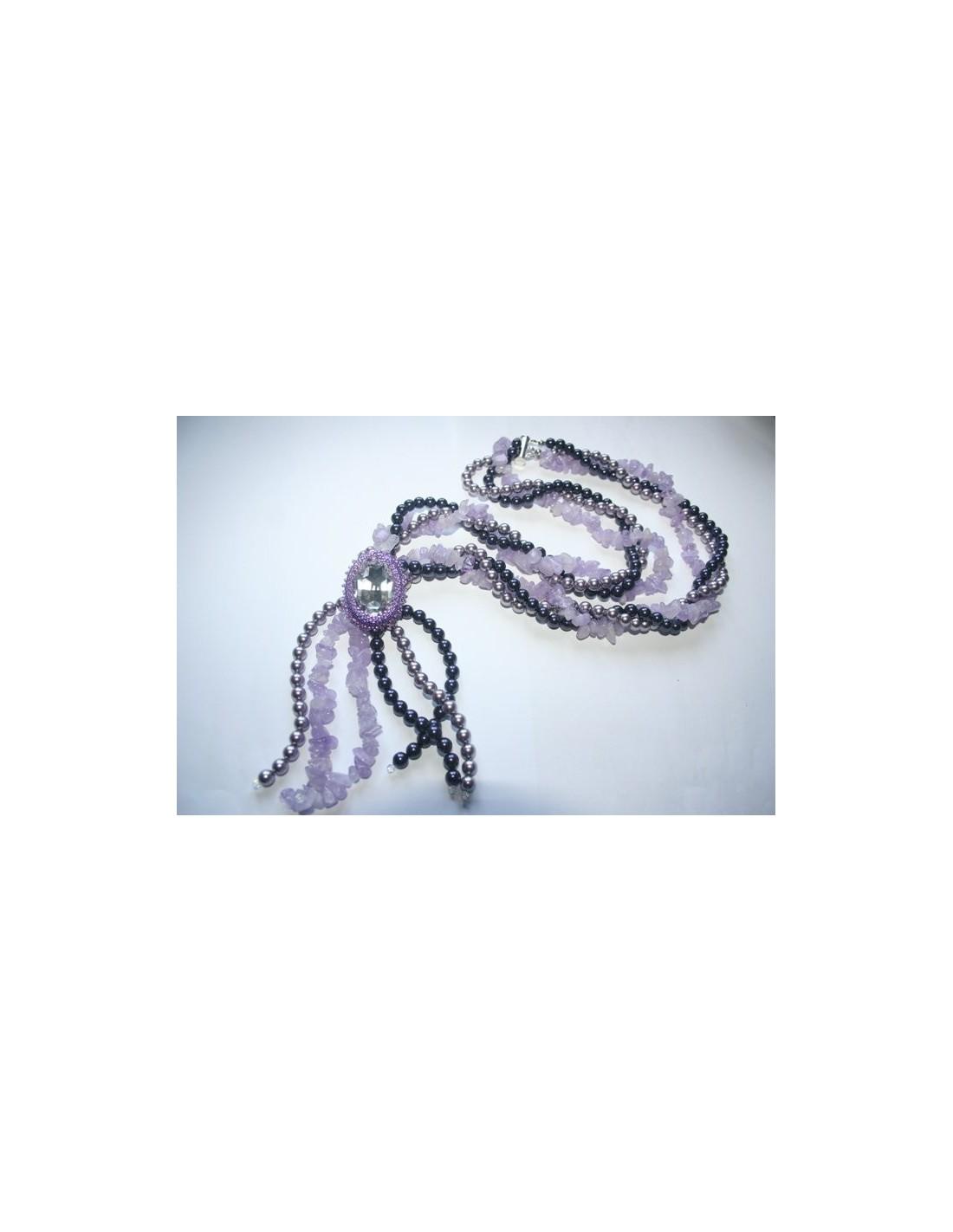 Ben noto Kit Collana Perle e Pietre Dure Cabochon Swarovski 2 - PerlineBijoux EB59