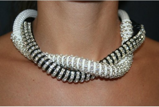 Black-White 2 Strand Climbing Cord with Strass Necklace Kit