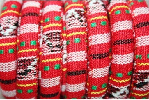 Ethnic Oval Cotton Cord 7x9mm Red - 50cm COR06A