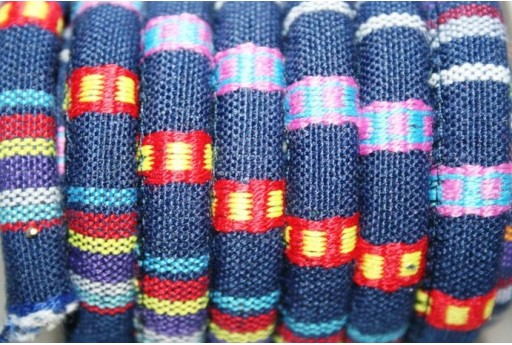 Ethnic Oval Cotton Cord 7x9mm Blue - 50cm COR06C