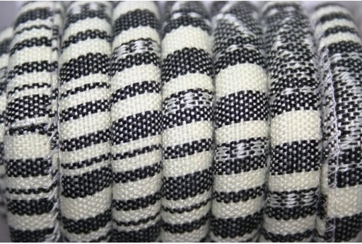 Ethnic Oval Cotton Cord 7x9mm Black White - 50cm COR06D