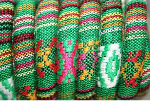 Ethnic Oval Cotton Cord 7x9mm Green - 50cm COR06F