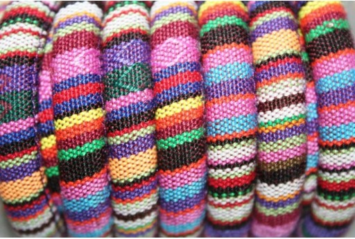 Ethnic Oval Cotton Cord 7x9mm Colorful- 50cm COR06H