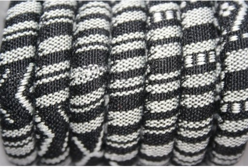Ethnic Oval Cotton Cord 7x9mm Black - 50cm Cod.COR06L