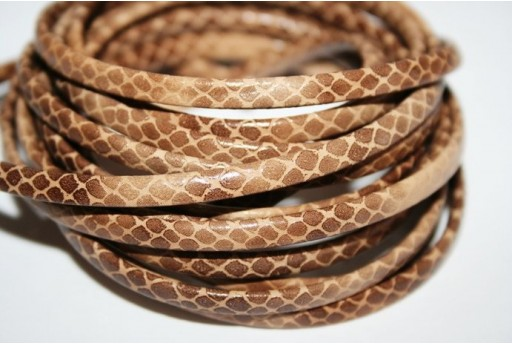 Light Brown Flat Faux Leather Cord 5mm - 50cm COR05H