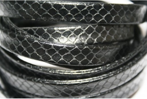 Black Flat Faux Leather Cord 10mm - 50cm COR07D