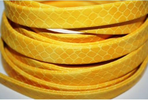 Yellow Flat Faux Leather Cord 10mm - 50cm COR07H