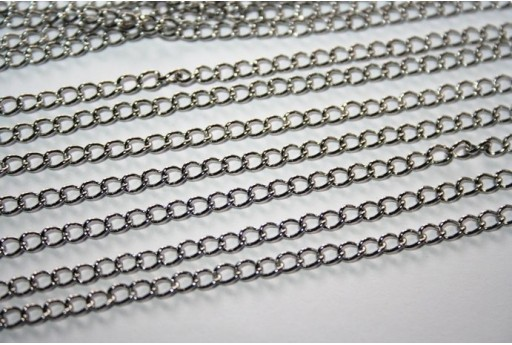 Platinum Plated Steel Twist Chain 3x1,5mm - 50cm