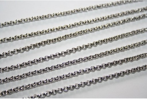 Platinum Plated Steel Rolo Chain 2x2mm - 50cm