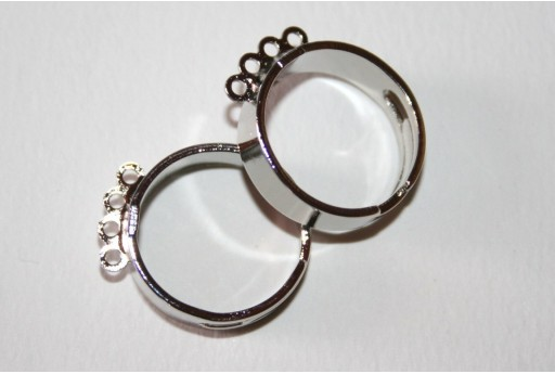Silver Plated Adjustable 4 Loops Ring 21mm