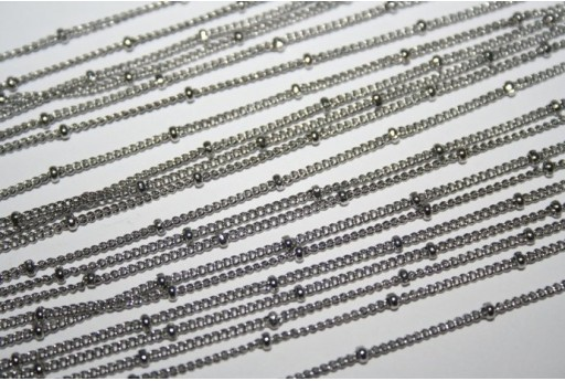 Platinum Plated Steel Chain with Beads dia 2mm - 50cm