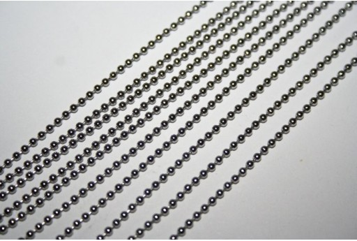 Platinum Plated Steel Ball Chain dia 1,5mm - 1mt