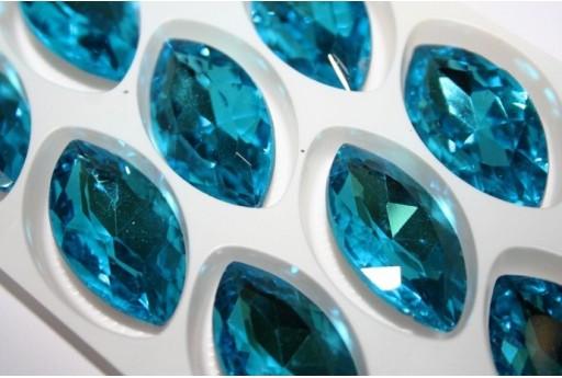 Glass Cabochon Crystal 17x32mm., Aquamarine 1pz.