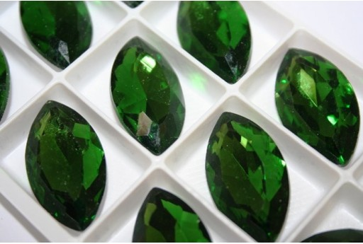 Cabochon Navetta Cristallo 17x32mm., Verde 1pz., Cod.CAB08C