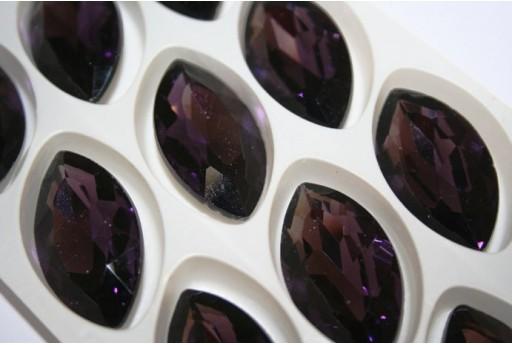 Cabochon Navetta Cristallo 17x32mm., Viola 1pz., Cod.CAB08E