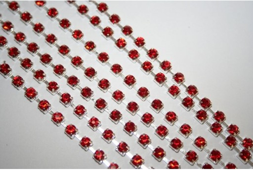 Rhinestone Cup Chain SS16, 4mm Red/Silver 50cm., CAT30D