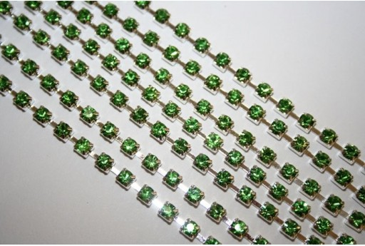 Rhinestone Cup Chain SS16, 4mm Green/Silver 50cm., CAT30E