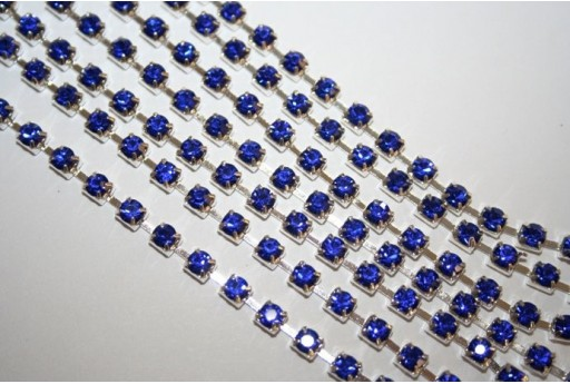 Catena Strass SS16, 4mm Blue/Argento 50cm., CAT30F