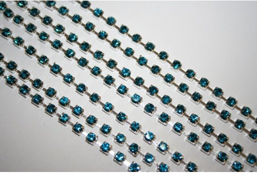 Catena Strass SS16, 4mm Aquamarine/Argento 50cm., CAT30G