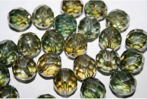 Fire Polished Beads Luster-Transparent Green 12mm - 10pz