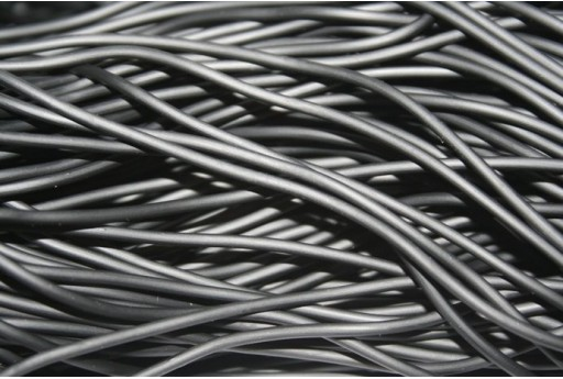 Hollow Rubber Cord Black 2mm - 4m