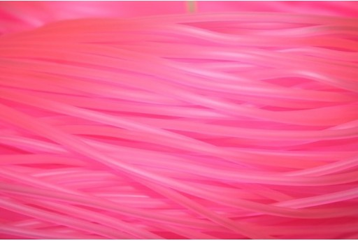 Hollow Rubber Cord Neon Pink 2mm - 4m