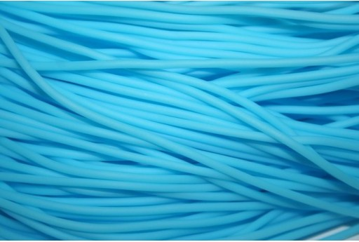 Hollow Rubber Cord Turquoise 2mm - 4m