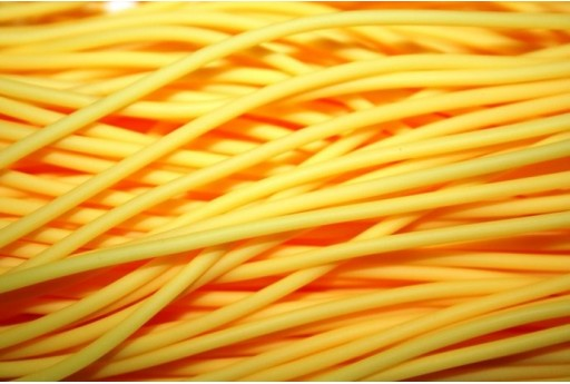 Hollow Rubber Cord Opaque Yellow 2mm - 4m