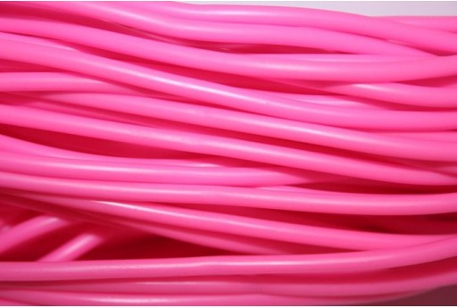 Hollow Rubber Cord Opaque Pink 3mm - 2m