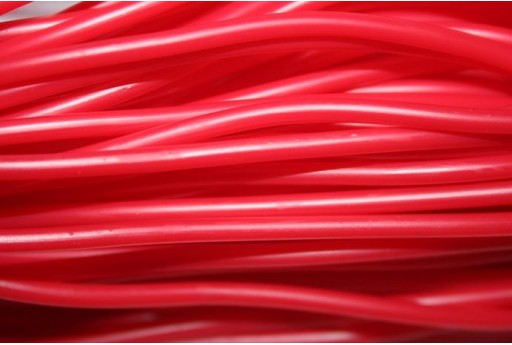 Hollow Rubber Cord Opaque Red 3mm - 2m
