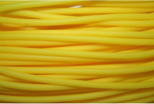 Hollow Rubber Cord Opaque Yellow 3mm - 2m