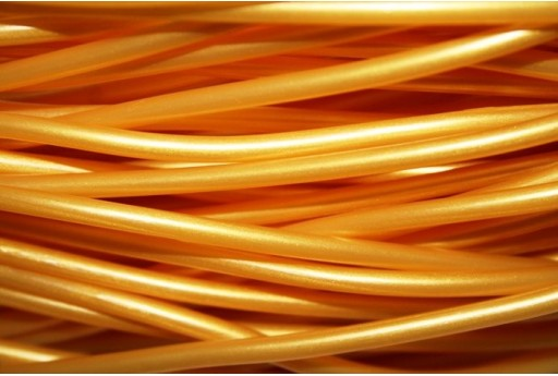 Hollow Rubber Cord Gold 3mm - 2m