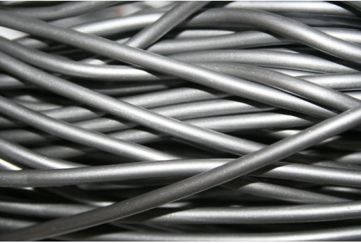Hollow Rubber Cord Silver 3mm - 2m