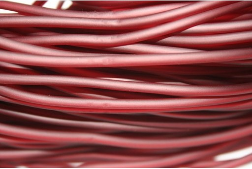 Hollow Rubber Cord Opaque Bordeaux 3mm - 2m