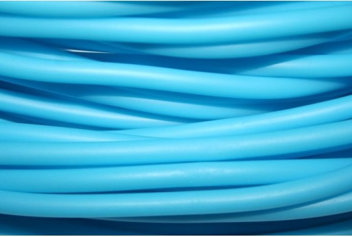 Hollow Rubber Cord Turquoise 5mm - 1m