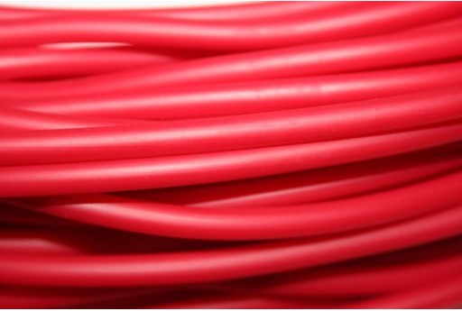 Hollow Rubber Cord Opaque Red 5mm - 1m