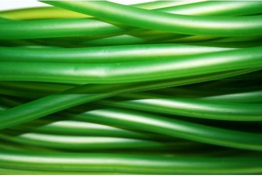 Filo di Caucciù Forato Verde 5mm - 1mt