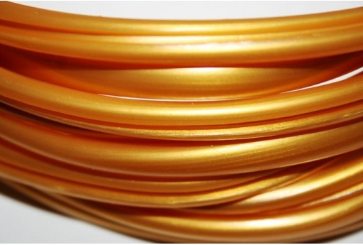 Regaliz Grooved Rubber Cord 9x6mm Gold - 50cm