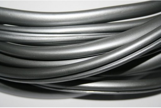 Regaliz Grooved Rubber Cord 9x6mm Grey - 50cm