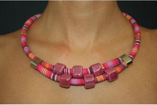 Fuchsia Ethnic Cord Turquoise Necklace Kit